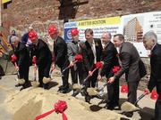 Officials broke ground in Chinatown on a 67-unit affordable apartment project. Left to right: Allen Chin, president, Chinese Economic Development Council, Christopher Scarvalas and Matthew Consigli of Consigli Construction Co., Edward T.T. Chaing of the Chinese Economic Development Council, Walsh, City Councilor Bill Linehan, State Rep. Aaron Michlewitz, Chiaming Sze of Chia-Ming Sze Architect, Inc.