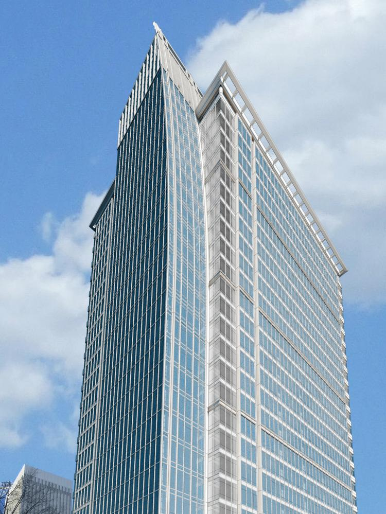 A rendering of the 300 South Tryon project by LS3P. Babson Capital will be the anchor tenant in the 25-story office tower, which is expected to break ground in the fall.
