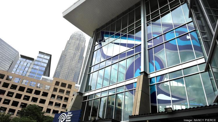 The Charlotte Hornets logo has replaced Charlotte Bobcats signs in many places at Time Warner Cable Arena.