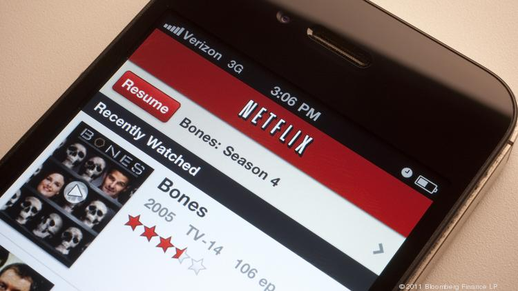 The Netflix Inc. app is displayed for a photograph on a mobile device.