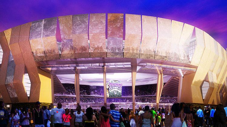 This is a rendering of a planned downtown arena for the Sacramento Kings.
