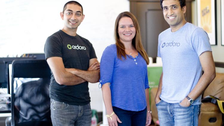 Ordoro Inc. co-founders Sangram Kadam, left, Naruby Schlenker and Jagath Narayan at the company's downtown office. Co-founder Ben Weatherman is not pictured.