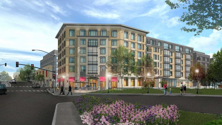 The latest rendering of the hotel and apartment complex that would replace the Cleveland Circle Cinema.