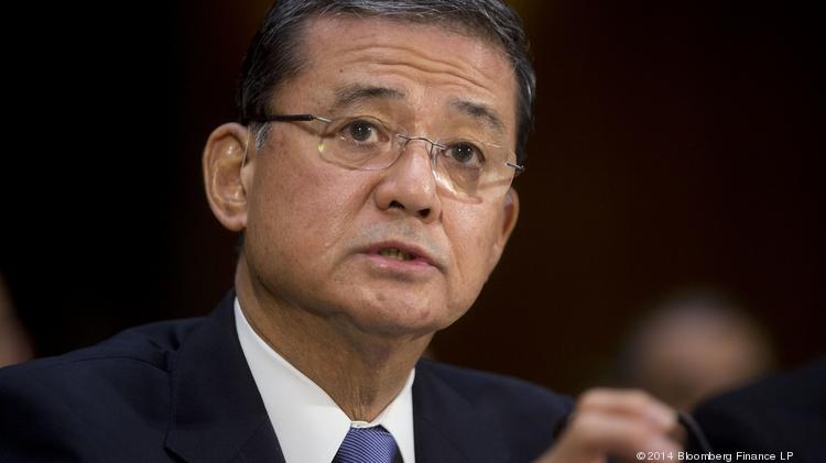 Eric Shinseki, U.S. secretary of Veterans Affairs, speaks during a Senate Veterans' Affairs Committee hearing in Washington, D.C., U.S., on Thursday, May 15, 2014.