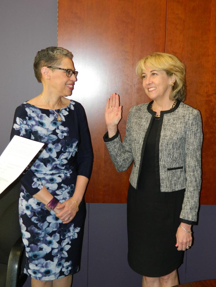 Infinity CEO Adelene Perkins, right, was joined by MLSC President and CEO Susan Windham-Bannister to be sworn in as the new board member.