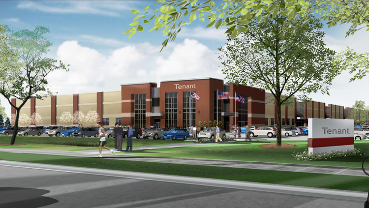 """A rendering of what CSM's office/warehouse building will look like in Brooklyn Park. The Minneapolis-based developer announced Wednesday its starting construction of the building """"on spec"""" – or without having tenants lined up."""