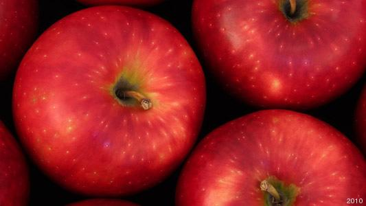 """Washington State University's new """"Cosmic Crisp"""" apple is speckled with lenticels, little spots that look like starbursts."""