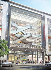 Market Street Place between Fifth and Sixth Streets will feature 250,000 square feet and clear heights up to 17 feet on the ground floor. Interior finishes include natural stone, glass walls and art installations.