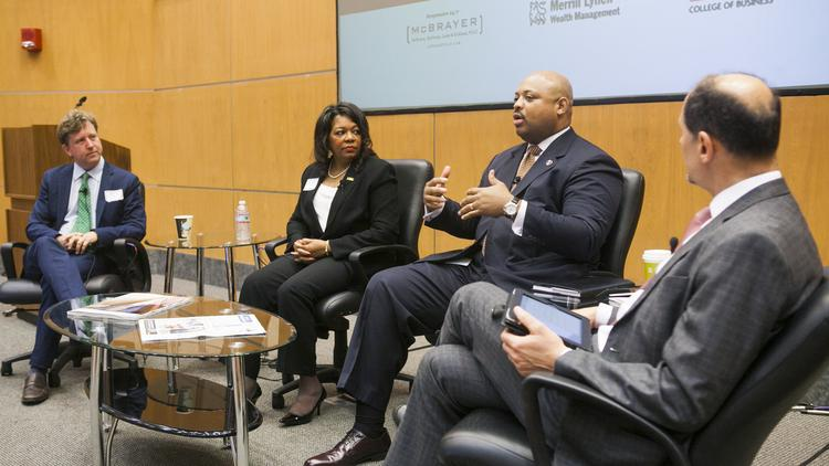From left, Gill Holland, Teresa Bridgewaters and David Tandy participated in a discussion moderated by Louisville Business First managing editor Cary Stemle.