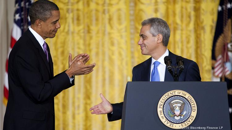 President Barack Obama, left, applauds Rahm Emanuel, departing White House chief of staff, during a statement in the East Room of the White House in Washington, D.C., Oct. 1, 2010. Emanuel ended his tenure as Obama's chief of staff that day to run for mayor of Chicago.