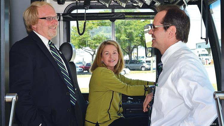 Pinellas County Commissioner Karen Seel, a longtime advocate for public transit, is flanked by Yes for Greenlight co-chairs Don Ewing, left, and Chris Steinocher.