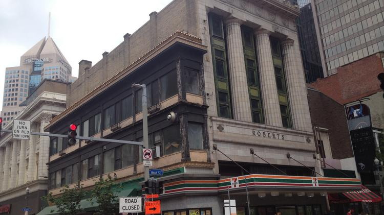 Pittsburgh History & Landmarks Foundation is investing $535,000 of state grant funding to restore these two buildings at the corner of Wood Street and Forbes Avenue.