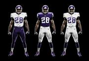 Three of the options for the new Minnesota Vikings uniforms. The fourth is purple pants with a purple jersey.