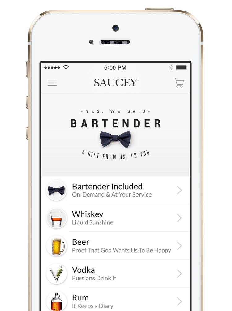 Saucey's smartphone app lets users drop a pin at their location, order alcohol and check out with just a couple of taps. Libations are delivered in 20 to 40 minutes.