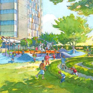 Rendering of Discovery Garden planned for Children's Hospital of San Antonio currently under development.