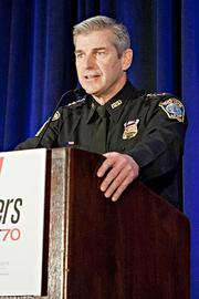 Paul Fitzgerald, chief of the Boston Police Bureau of Intelligence and Analysis, was selected by Commissioner Ed Davis to act as the BPD liaison officer to the FBI during the Boston Marathon bombing investigation. He spoke briefly about the recent bombing and investigation as well as explaining to the BBJ Pacesetters 2013 Select 70 honorees they were entitled to a free, three-word acceptance speech, with additional words costing $25 each to be donated to the recently established One Fund Boston. Over $76,000 was raised at the event.