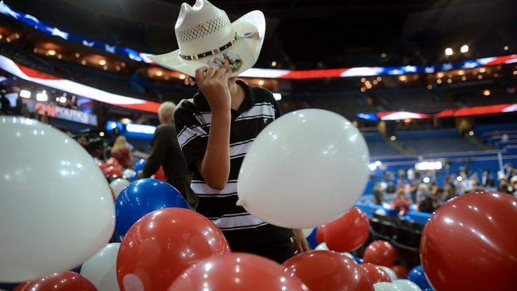 A boy wears a cowboy hat at the Republican National Convention in Tampa, Florida, on Aug. 30, 2012