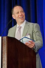 Mark Eldridge of The Start Group stated he would keep his acceptance speech short as he was concerned how large his forehead would look on the jumbo screens either side of the stage at the BBJ Pacesetters 2013 Select 70 awards breakfast.