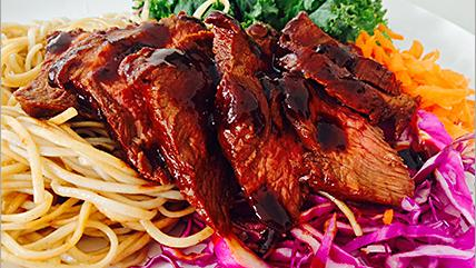 The menu at Fit Eats includes entrees such as Korean barbecue beef. The company specializes in healthy meals.