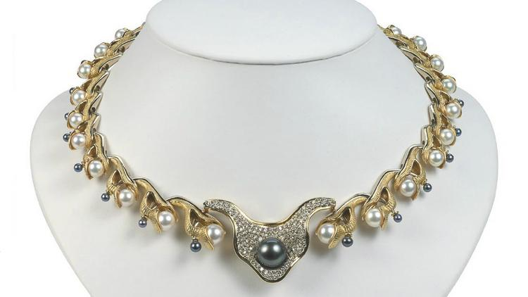 """Titled """"Surrender,"""" the gold, pearl and diamond necklace for which artist Annie Koenig won second place in the gold or platinum category of the Saul Bell Design Awards."""