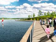 A rendering of the planned wetlands walk at Shelby Farms Park