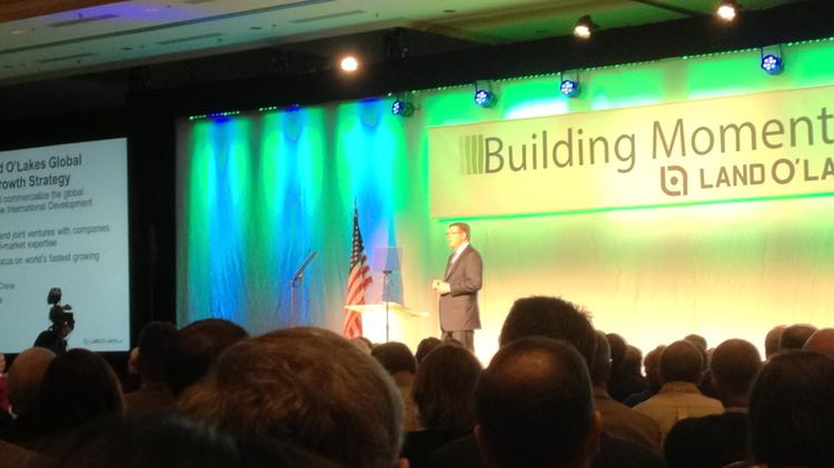 Land O'Lakes President and CEO Chris Policinski spoke to the members of the farmer-owned cooperative at the company's annual meeting in Minneapolis in 2013.