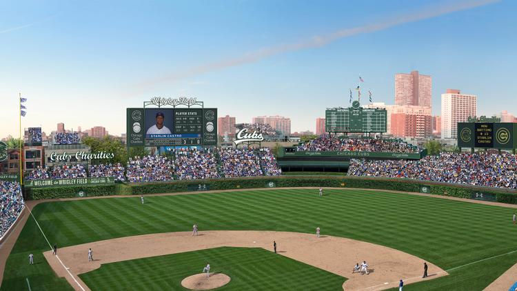 The Chicago Cubs and their owners the Ricketts family have proposed putting up as many as seven outfield signs at landmarked Wrigley Field.