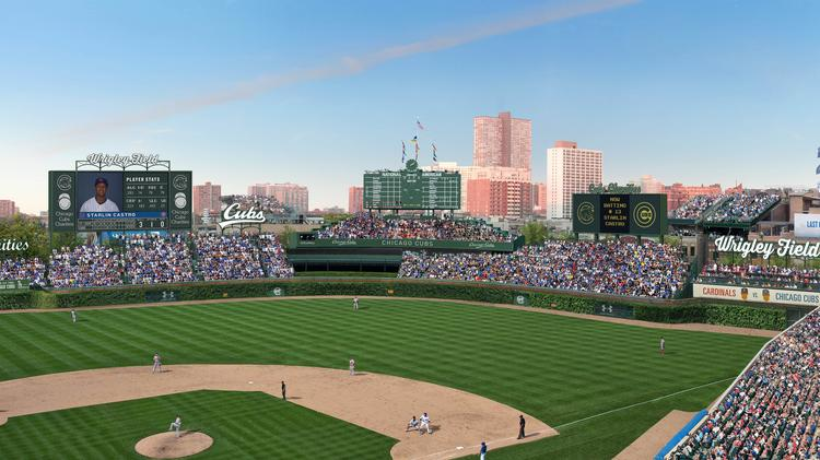 The Chicago Cubs have updated the proposed Wrigley Field renovation to include seven outfield signs, up from two.