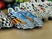 "Adidas last month unveiled its Battle Pack collection of soccer cleats, which will be worn by Adidas athletes at next month's World Cup soccer tournament. The black and white pattern is a nod to the company's ""All in or nothing"" mantra for the event."