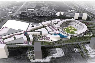 The new ballpark will be surrounded by new hotels, apartments and office buildings.