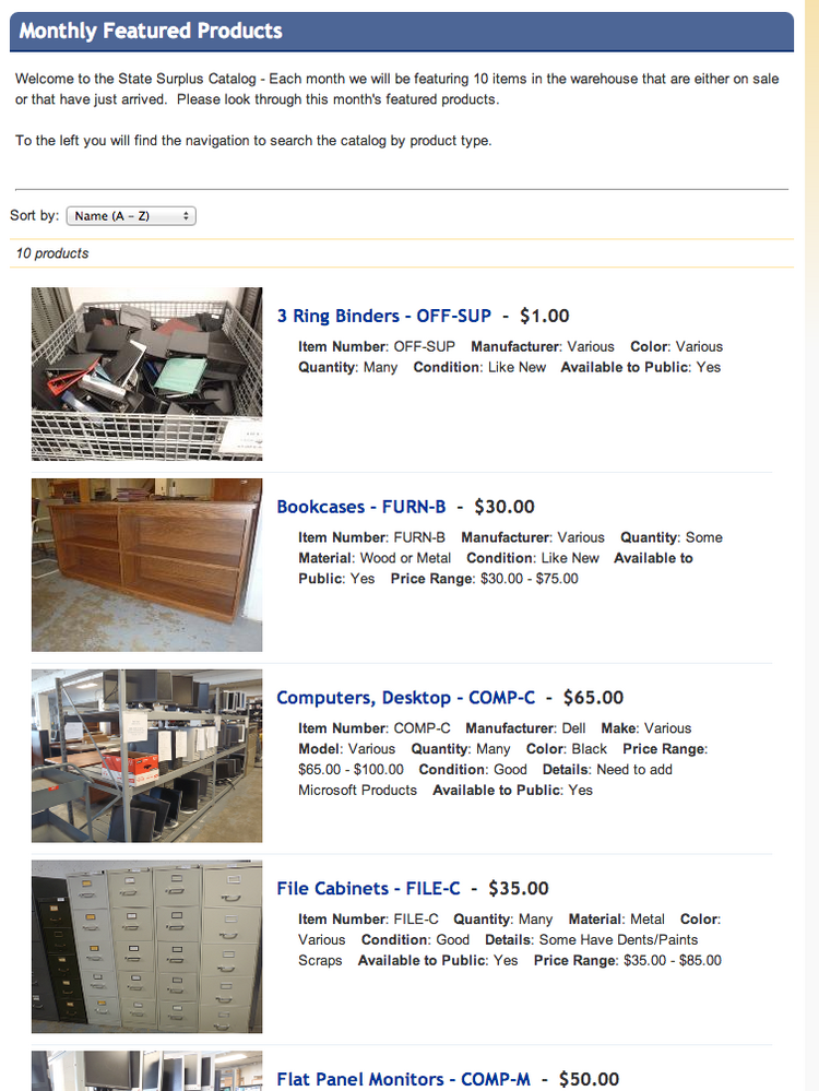 The Kansas Department of Administration sells a variety of surplus items.