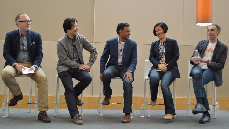 Target.com and Mobile Senior Vice President Jason Goldberger (left) leads a panel with the Target Digital Advisory Council at Target headquarters. Next to Goldberger is: Roger Liew, Chief Technology Officer of Orbitz Worldwide; Ajay Agarwal, Managing Director of Bain Capital Ventures; Amy Chang, CEO/Co-Founder of Accompani; Sam Yagan, CEO of the Match Group and CEO/Founder of OkCupid.