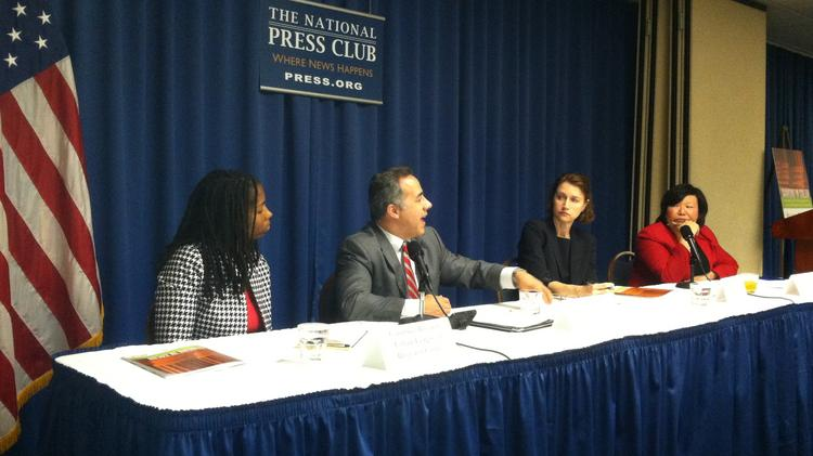 "Panelists at the May 28, 2014, National Press Club release of ""Banking In Color,"" a report about financial access for low- and moderate-income communities. Left to right: Courtnee Biscardi, National Urban League of Broward County, Florida; J. Oscar Ramirez, Avenida Guadalupe Association of San Antonio, Texas; Melissa Koide, Deputy Assistant Secretary for Consumer Policy at the U.S. Department of the Treasury; Lisa Hasegawa, National Coalition for Asian Pacific American Community Development."