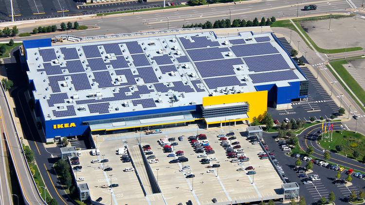 The Bloomington, Minn., IKEA is among 40 other U.S. locations that have rooftop solar panels.