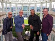 As Apple announces the $3 billion acquisition of Beats Electronics, the new dream team joins for a photo.   From left: Beats Electronics co-founder Jimmy Iovine, Apple chief executive officer Tim Cook, Beats Electronics co-founder Dr. Dre and Apple senior vice president Eddy Cue.