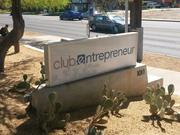 The sign outside the co-working space.