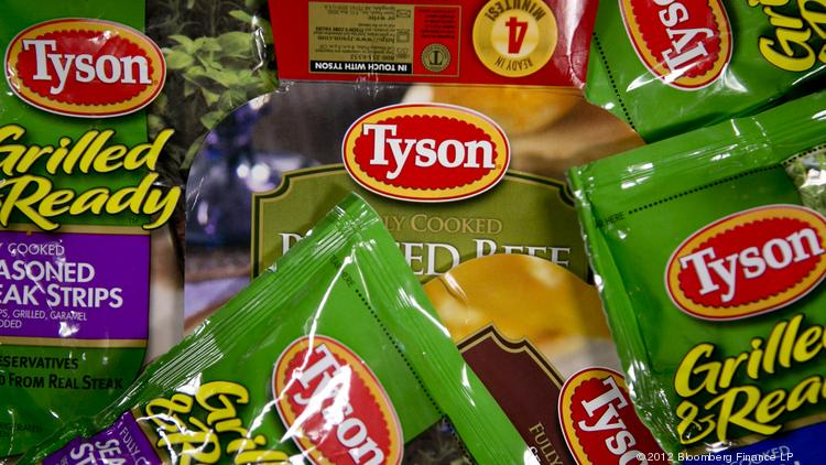 Packages of Tyson Foods Inc. Fully Cooked and Grilled and Ready prepared foods are arranged for a photograph.