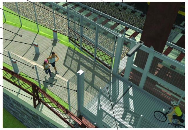 An artist's rendering of the East Approach Security Gate for the pedestrian section of the Main to Main project.