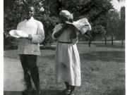 Two African American domestics work at a boarding house on Clifton Avenue in August 1922.