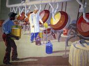 The 1931 Union Terminal Worker Concourse murals (now at the airport) recognizethe contributions of the region's industrial workers. Only one African American appears in that series 14 murals, in the Merrell Chemical mural. All of the murals are based on photos. This worker did not appear in the original photo but was inserted later by the artist, Winold Reiss.
