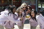 The Kentucky Derby Festival queen and her court enjoyed the fare at the Chow Wagon Thursday.  Pictured from left are: Dominique Luster, Chelsea Diamond, Cammie Jones, Katie Gardner and Alli Grant.