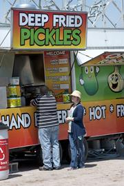 Deep-fried pickles also were among the items sold at the Chow Wagon.
