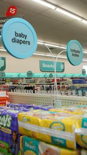 """""""Lollipop signs,"""" so-called for their shape, tell of specific items under the broader categories on the large wall signs. Signs are color-coded to make navigation and finding things easy."""