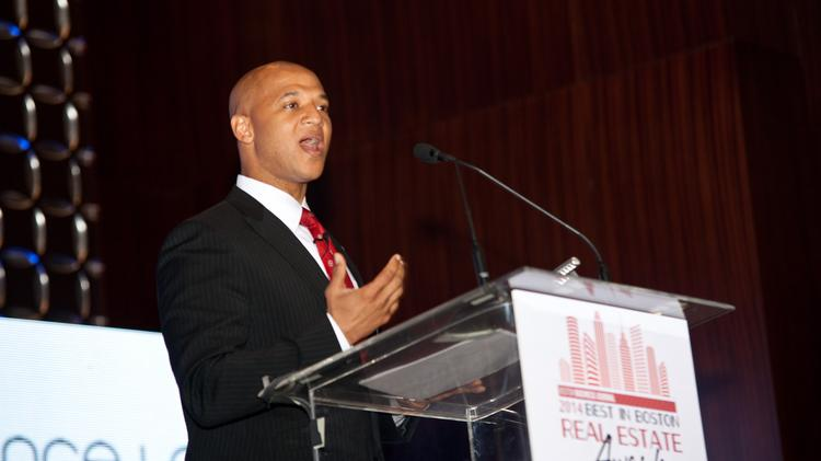 Boston economic development head John Barros addresses the crowd at the at the 2014 Boston Business Journal Best in Boston Real Estate awards.