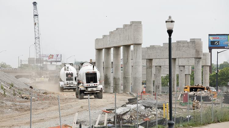 """A """"pier farm"""" has been erected at the intersection of Witherspoon and Clay streets as part of the Ohio River Bridges Project."""