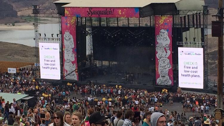 The Washington Health Benefit Exchange advertised health insurance at the Sasquatch Music Festival last weekend at the Gorge Amphitheatre in central Washington.