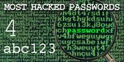 The top most hacked passwords include abc123 at No. 4.