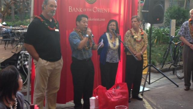 Russ Francis, left, was chosen to be one of Bank of the Orient's volunteer advisory board members. The San Francisco-based bank unveiled its board at a Downtown Honolulu event this week, where Francis spoke to PBN about professional sports in Hawaii.