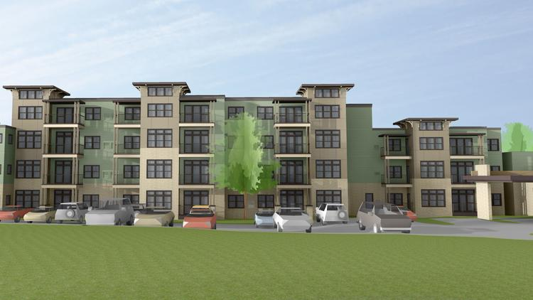 This rendering depicts some of the 163 new apartment units that will be added to John Knox Village.