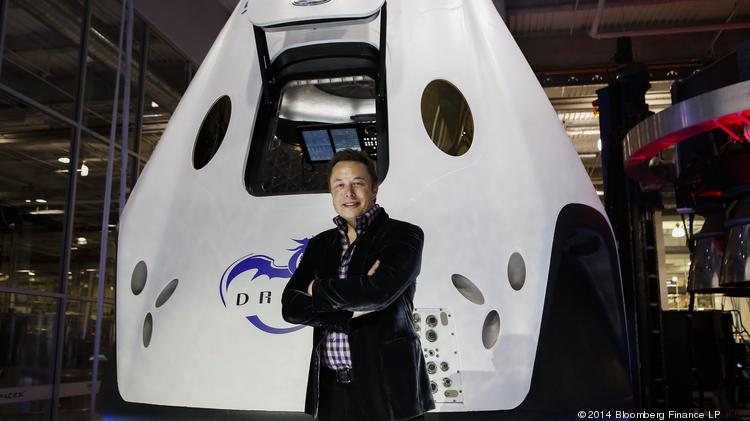 Elon Musk, chief executive officer of Space Exploration Technologies Corp. (SpaceX), is in the race for best space taxi design for NASA.